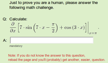 Hard math CAPTCHA