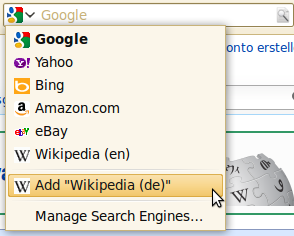 Firefox: Add search engine detected via autodiscovery