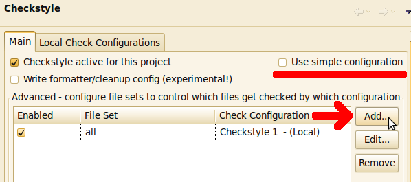 Multiple Checkstyle files in Eclipse