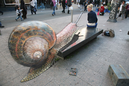Pavement Drawing by Julian Beever