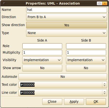Customizing associations in Dia