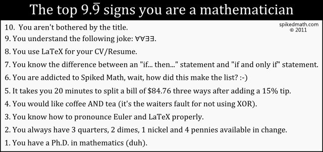 The top 10 signs you're a mathematician/computer scientist