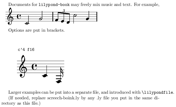 Lilypond example - output was a PDF