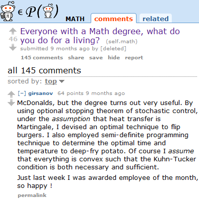 What you earn with a math-degree ;-)