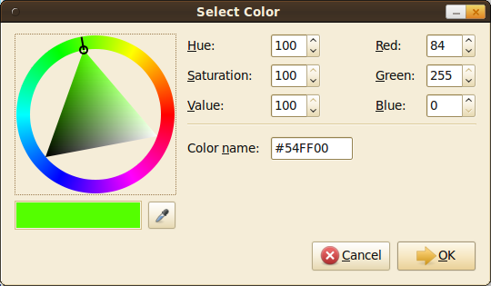 Google Chrome Color Dialog Box