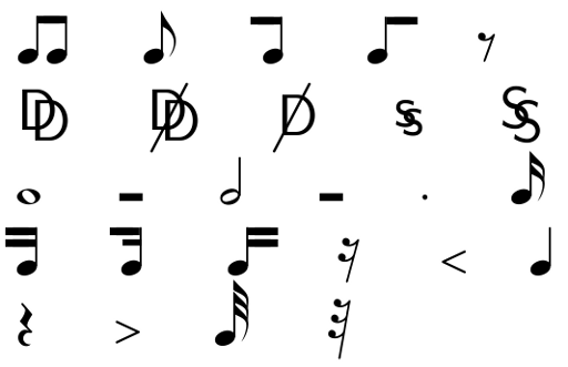 music symbols form the LaTeX-harmony package