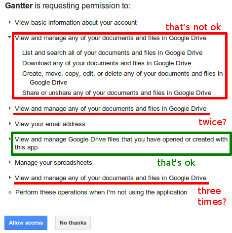 Google Drive permissions requested by Gantter