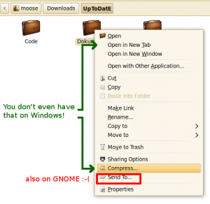 Right click menu on GNOME 2