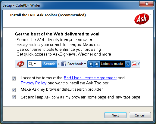 Windows 7: Install another browser toolbar