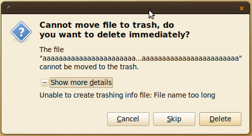 Cannot move file to trash - Filename too long!