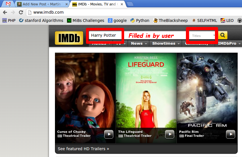 IMDb: User Interface to search for a movie by title