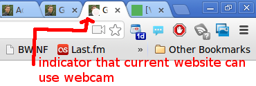 Webcam indicator on tab in Google Chrome