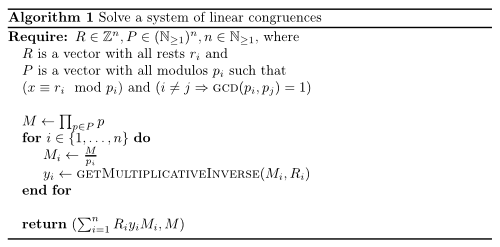 Solve a system of linear congruences