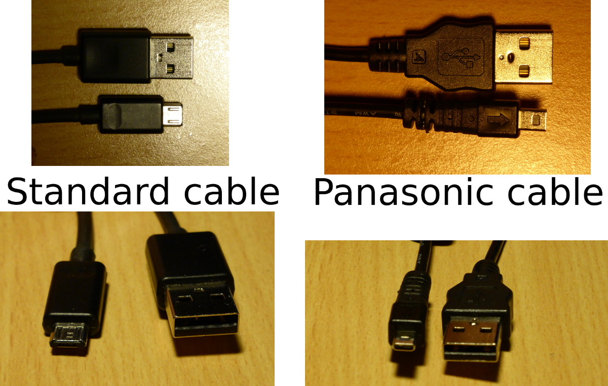 Panasonic does not use standard microUSB2USB cables for charging / data exchange