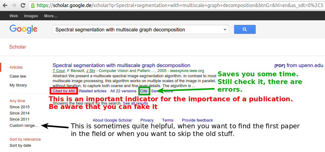 Searching for a publication on Google Scholar