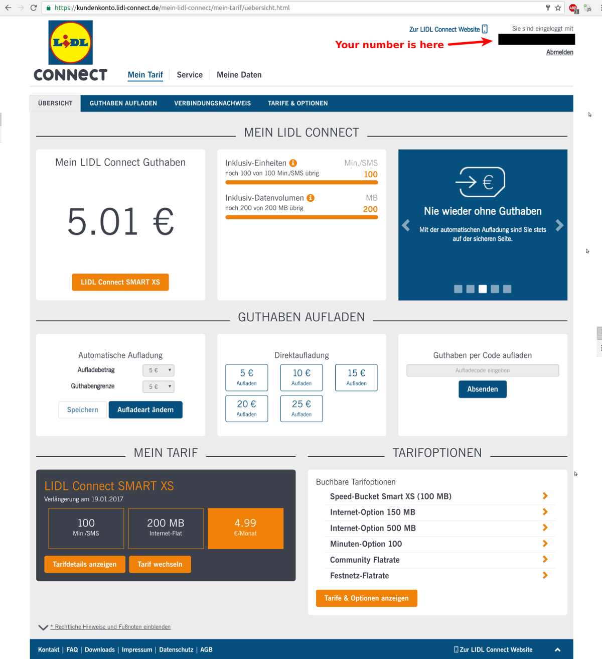User Interface of Lidl Connect