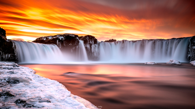 Sunset at Goðafoss waterfall