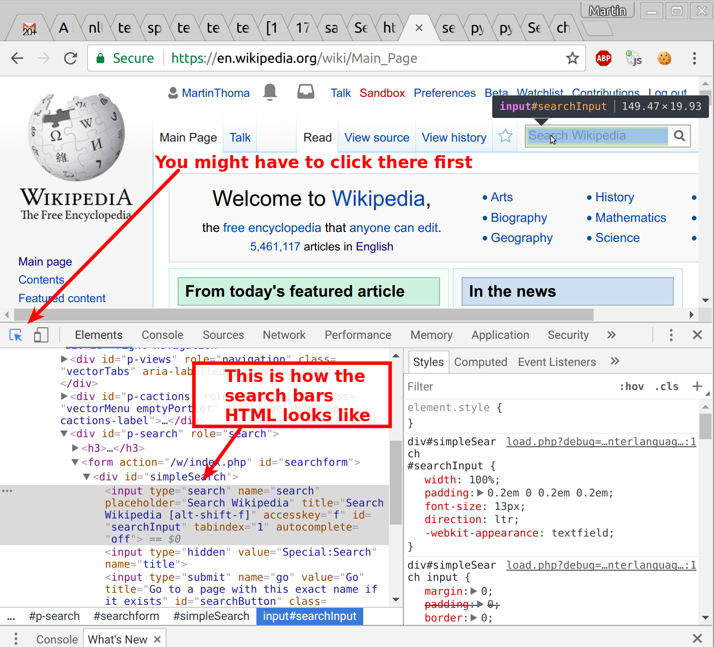 The inspection of the search bar with the Chrome Developer Tools reveals that it has the id 'searchInput'