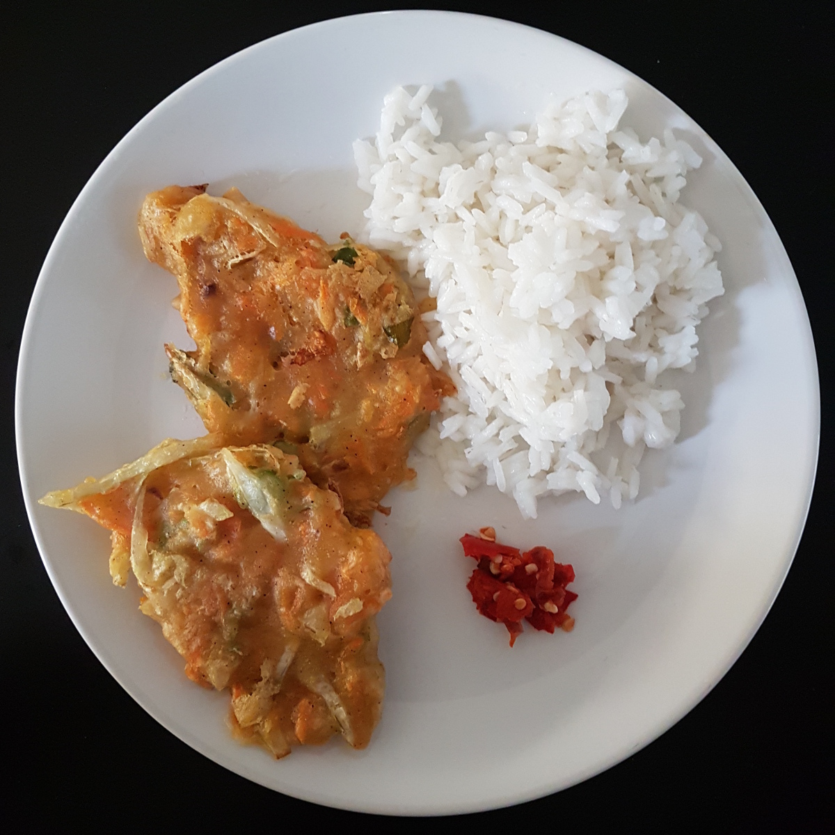 Bala bala with rice and Sambel goang