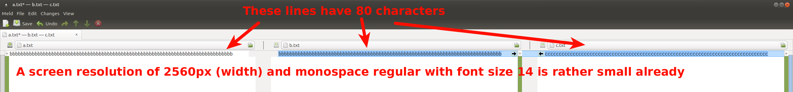 3-way merge with 80 character lines