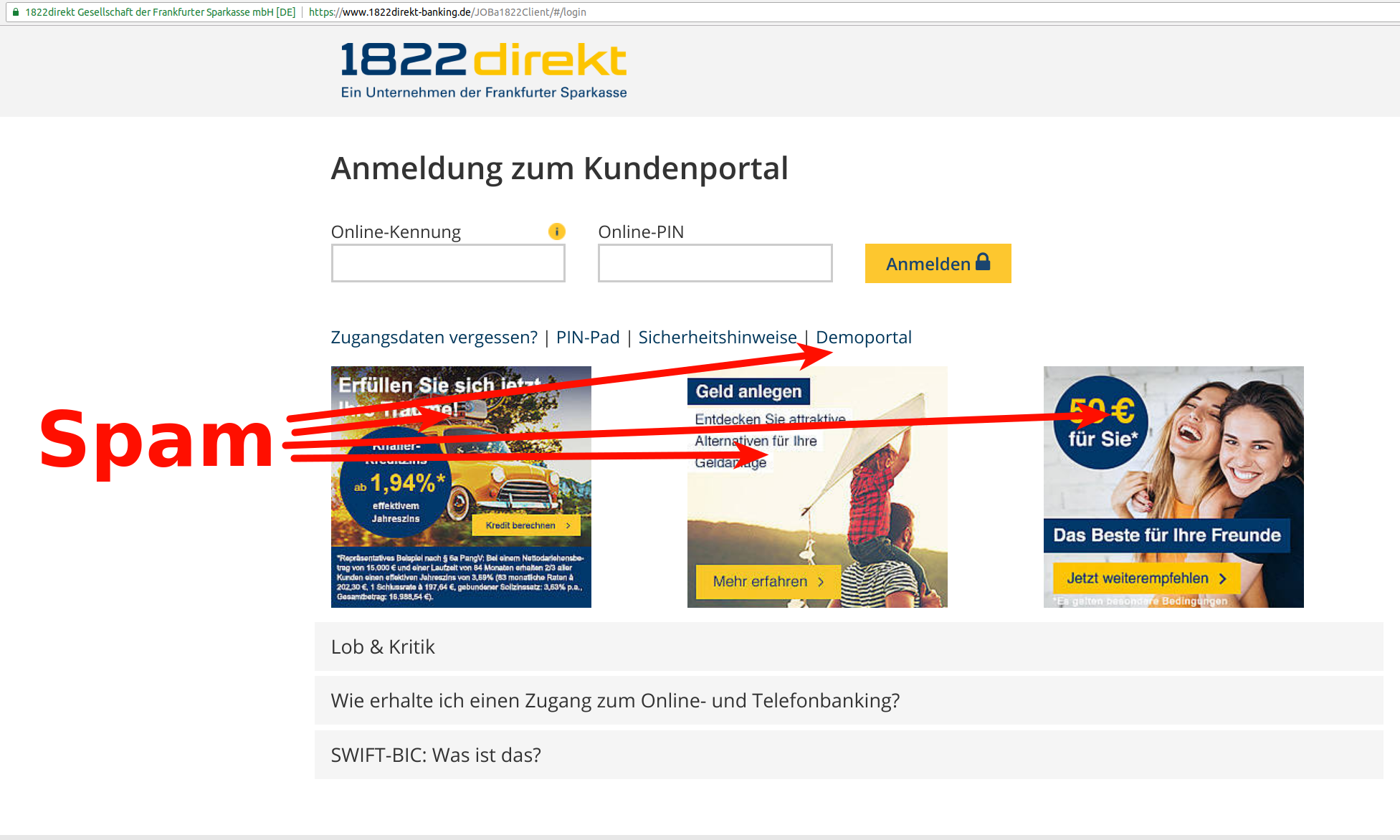 Login page of 1822direkt