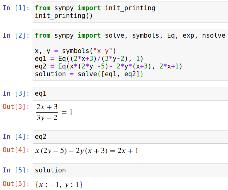 Sympy in Jupyter Notebook